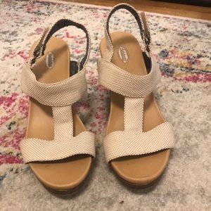 Light tan wedge sandals